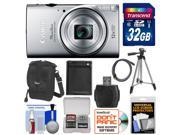 Canon PowerShot Elph 350 HS Wi-Fi Digital Camera (Silver) with 32GB Card + Battery + Case + Tripod + Kit