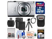 Canon PowerShot Elph 350 HS Wi-Fi Digital Camera (Silver) with 32GB Card + Battery & Charger + Case + Tripod + Kit