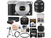 Nikon 1 J5 Wi-Fi Digital Camera & 10-30mm Lens (Silver) with 30-110mm VR Lens + 32GB Card + Sling Strap + Case + Tripod + Filter + Kit