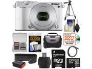 Nikon 1 J5 Wi-Fi Digital Camera & 10-30mm Lens (White) with 32GB Card + Sling Strap + Case + Tripod + Kit