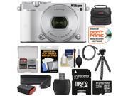 Nikon 1 J5 Wi-Fi Digital Camera & 10-30mm Lens (White) with 32GB Card + Joby Strap + Case + Flex Tripod + HDMI Cable + Kit