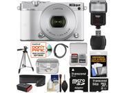 Nikon 1 J5 Wi-Fi Digital Camera & 10-30mm Lens (White) with 64GB Card + Sling Strap + Case + Tripod + Flash + Kit