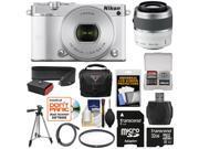 Nikon 1 J5 Wi-Fi Digital Camera & 10-30mm Lens (White) with 30-110mm VR Lens + 32GB Card + Sling Strap + Case + Tripod + Filter + Kit