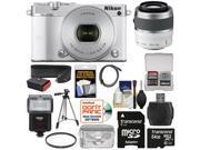 Nikon 1 J5 Wi-Fi Digital Camera & 10-30mm Lens (White) with 30-110mm VR Zoom Lens + 64GB Card + Sling Strap + Case + Tripod + Flash + Filter Kit