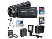 Panasonic HC-X920 3MOS Ultrafine Full HD Wi-Fi Video Camera Camcorder (Black) with 64GB Card + Battery + Hard Case + LED Light + 3 Filters + Tripod + Accessory Kit