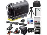 Sony Action Cam HDR-AS20 Wi-Fi 1080p HD Video Camera Camcorder with Remote + 32GB Card + Flat Surface & 2 Helmet Mounts + Battery + Case + Tripod + Kit