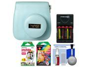 Fujifilm Groovy Camera Case for Instax Mini 8 (Blue) with 20 Twin & 10 Rainbow Prints + (4) Batteries & Charger + Accessory Kit