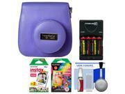 Fujifilm Groovy Camera Case for Instax Mini 8 (Grape) with 20 Twin & 10 Rainbow Prints + (4) Batteries & Charger + Accessory Kit