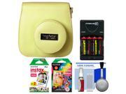 Fujifilm Groovy Camera Case for Instax Mini 8 (Yellow) with 20 Twin & 10 Rainbow Prints + (4) Batteries & Charger + Accessory Kit