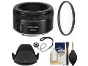 Canon EF 50mm f/1.8 STM Lens with UV Filter + Lens Hood + Kit