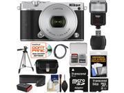 Nikon 1 J5 Wi-Fi Digital Camera & 10-30mm Lens (Silver) with 64GB Card + Sling Strap + Case + Tripod + Flash + Kit