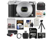 Nikon 1 J5 Wi-Fi Digital Camera & 10-30mm Lens (Silver) with 32GB Card + Battery + Strap + Case + Flex Tripod + HDMI Cable + Kit