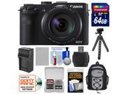 Canon PowerShot G3 X Wi-Fi Digital Camera with 64GB Card + Battery & Charger + Backpack + Flex Tripod + Kit