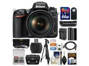 Nikon D750 Digital SLR Camera 24 120mm f 4 VR Lens with 64GB Card Case Battery Charger Grip Tripod Filters Kit