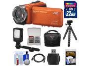 JVC Everio GZ-R320 Quad Proof Full HD Digital Video Camera Camcorder (Orange) with 32GB Card + Case + Flex Tripod + LED Light + Kit