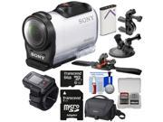 Sony Action Cam HDR-AZ1 Mini HD Video Camera Camcorder & Live View Remote with 64GB Card + Battery + Suction Cup, Handlebar Bike & Vented Helmet Mounts + Case + Kit