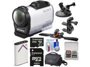 Sony Action Cam HDR-AZ1 Mini HD Video Camera Camcorder with 64GB Card + Battery + Suction Cup, Handlebar Bike & Vented Helmet Mounts + Case + Kit
