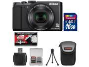 Nikon Coolpix S9900 Wi-Fi GPS Digital Camera (Black) - Factory Refurbished with 16GB Card + Case + Kit