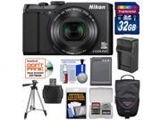 Nikon Coolpix S9900 Wi-Fi GPS Digital Camera (Black) - Factory Refurbished with 32GB Card + Battery & Charger + Case + Tripod + Kit
