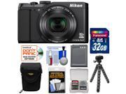 Nikon Coolpix S9900 Wi-Fi GPS Digital Camera (Black) - Factory Refurbished with 32GB Card + Battery + Case + Flex Tripod + Kit