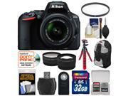 Nikon D5500 Wi-Fi Digital SLR Camera & 18-55mm VR DX Lens (Black) - Factory Refurbished with 32GB Card + Backpack + Flex Tripod + Filter + Tele/Wide Lens Kit