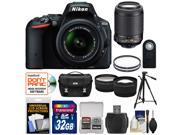 Nikon D5500 Wi-Fi Digital SLR Camera & 18-55mm VR DX Lens (Black) - Factory Refurbished with 55-200mm VR Lens + 32GB Card + Case + Filters + Tripod + Kit