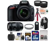 Nikon D5500 Wi-Fi Digital SLR Camera & 18-55mm VR DX Lens (Black) - Factory Refurbished with 70-300mm Lens + 32GB Card + Backpack + Flex Tripod + Filters + Tele/Wide Lens Kit