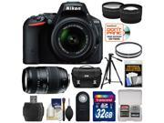 Nikon D5500 Wi-Fi Digital SLR Camera & 18-55mm VR DX Lens (Black) - Factory Refurbished with 70-300mm Zoom Lens + 32GB Card + Case + Filters + Tripod + Kit