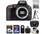 Nikon D5500 Wi-Fi Digital SLR Camera Body (Black) - Factory Refurbished with 32GB Card + Battery + Case + Tripod + Kit