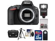 Nikon D5500 Wi-Fi Digital SLR Camera Body (Black) - Factory Refurbished with 32GB Card + Case + Flash + Tripod + Kit