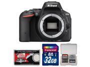 Nikon D5500 Wi-Fi Digital SLR Camera Body (Black) - Factory Refurbished with 32GB Card + Kit