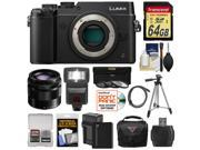 Panasonic Lumix DMC-GX8 4K Wi-Fi Digital Camera Body (Black) with 35-100mm OIS Lens + 64GB Card + Battery + Charger + Case + Flash + Tripod + Kit