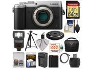 Panasonic Lumix DMC-GX8 4K Wi-Fi Digital Camera Body (Silver) with 15mm Lens + 64GB Card + Battery + Charger + Case + Flash + Tripod + Kit