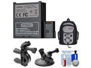 Veho VCC-A034-SB/DS-S50 1500mah Rechargeable Battery for Muvi K-Series with Backpack Case + Car Suction Cup & Handlebar Bike Mounts + Accessory Kit