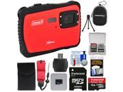 Coleman Xtreme C6WP HD Shock & Waterproof Digital Camera (Red) with 16GB Card + Reader + Case + Kit