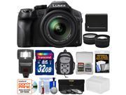 Panasonic Lumix DMC-FZ300 4K Wi-Fi Digital Camera with 32GB Card + Battery + Backpack + Flash + Filters + Tele/Wide Lens Kit