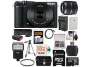 Nikon 1 J5 Wi-Fi Digital Camera & 10-30mm Lens (Black) with 30-110mm Lens + 64GB Card + Battery + Charger + Strap + Case + Tripod + Flash + Kit