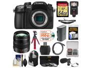 Panasonic Lumix DMC GH4 4K Micro Four Thirds Digital Camera Body with 12 35mm f 2.8 Lens 64GB Card Backpack Flash Battery Tripod Microphone Kit