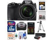 Nikon Coolpix L840 Wi-Fi Digital Camera (Black) - Factory Refurbished with 32GB Card + Batteries & Charger + Case + Tripod + Strap + Kit