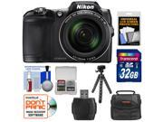 Nikon Coolpix L840 Wi-Fi Digital Camera (Black) - Factory Refurbished with 32GB Card + Case + Flex Tripod + Kit