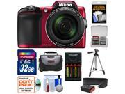 Nikon Coolpix L840 Wi-Fi Digital Camera (Red) - Factory Refurbished with 32GB Card + Batteries & Charger + Case + Tripod + Strap + Kit