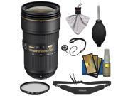Nikon 24-70mm f/2.8E VR AF-S ED Nikkor Zoom Lens with Hoya Filter + Sling Strap + Cleaning Kit