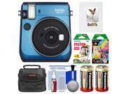 Fujifilm Instax Mini 70 Instant Film Camera (Blue) with 20 Twin & 10 Rainbow Prints + Album + Case + Batteries + Kit