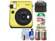 Fujifilm Instax Mini 70 Instant Film Camera (Yellow) with 20 Prints + Case + Batteries + Kit