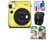 Fujifilm Instax Mini 70 Instant Film Camera (Yellow) with 20 Twin & 10 Rainbow Prints + Case + Kit