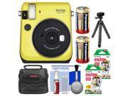 Fujifilm Instax Mini 70 Instant Film Camera (Yellow) with 40 Prints + Case + Batteries + Flex Tripod + Kit