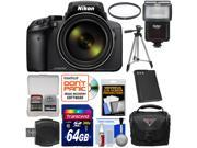 Nikon Coolpix P900 Wi-Fi 83x Zoom Digital Camera with 64GB Card + Battery + Case + Tripod + Filter + Flash + Kit