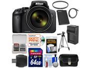 Nikon Coolpix P900 Wi-Fi 83x Zoom Digital Camera with 64GB Card + Battery + Charger + Case + Tripod + Filter + Kit