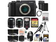 Panasonic Lumix DMC-GX8 4K Wi-Fi Digital Camera Body (Black) + 12-35mm f/2.8 & 45-150mm Lenses + 64GB Card + Battery + Backpack + Flash + Tripod Kit