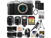 Panasonic Lumix DMC-GX8 4K Wi-Fi Digital Camera Body (Silver) + 12-35mm f/2.8 & 45-150mm Lenses + 64GB Card + Battery + Backpack + Flash + Tripod Kit